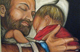 Regina Holliday believes this painting of her dying husband with their child depicts true love.