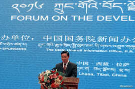 Liu Qibao, head of the Tibetan Autonomous Region Propaganda Department, speaks during the Tibet Development Forum in Lhasa, Tibet Autonomous Region, July 7, 2016.