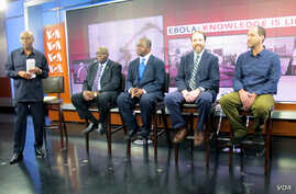 "VOA ""Straight Talk Africa"" host Shaka Ssali, left, leads an Ebola discussion with Ambassador H.E. Bockari K. Stevens of Sierra Leone, Dr. Malonga Miatudila, and Ebola survivors Rick Sacra and Ashoka Mukpo, a physician and journalist, respectively, No..."