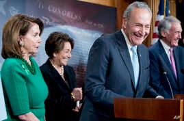 Senate Minority Leader Chuck Schumer of New York, accompanied by Sen. Ed Markey, D-Mass., right, Rep. Anna Eshoo, D-Calif., second from left, and House Minority Leader Nancy Pelosi of California, left, speak to reporters on  Capitol Hill in Washingto