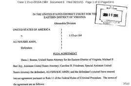 Copy of U.S. Department of Justice Affidavit on Virginia teen's guilty plea about conspiring to provide material support to Islamic State militants, June 11, 2015.