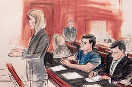 FILE - In this Feb. 11, 2015, file courtroom sketch, Assistant U.S. Attorney Anna Skotko, foreground left, addresses the court at the arraignment of Russian citizen Evgeny Buryakov.