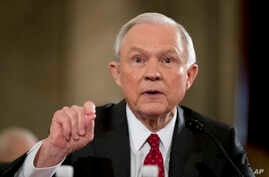 Attorney General-designate, Sen. Jeff Sessions, R-Ala. testifies on Capitol Hill in Washington.