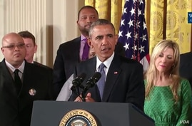 U.S. President Barack Obama discusses steps he's taking to reduce gun violence at the White House, Jan. 5, 2015.