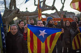 """Pro-independence supporters holds """"estelada"""" flags as they celebrate the results of a symbolic declaration of sovereignty in front of Catalonia's Parliament in Barcelona, Spain, Jan. 23, 2013."""
