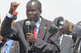 South Sudan Vice President James Wani Igga addresses demonstrators at a peace rally in Juba on Monday, March 10, 2014.