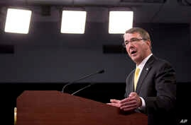 Defense Secretary Ash Carter speaks during a news conference at the Pentagon, Aug. 20, 2015.
