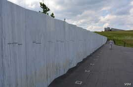 The Wall of Names pays tribute to the passengers and crew of Flight 93, who thwarted a terrorist attack on 9/11.