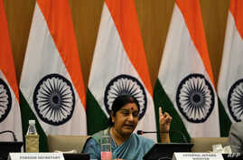 Indian Foreign Affairs Minister Sushma Swaraj gestures during a press conference in New Delhi on Aug. 22, 2015.