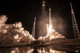"""This Jan. 7, 2019 photo made available by SpaceX shows the launch of the Falcon 9 rocket at Cape Canaveral, Fla., for the """"Zuma"""" U.S. satellite mission."""