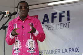 "FILE - FPI leader Pascal Affi Nguessan, shown during a campaign rally last October in Gagnoa, Ivory Coast, says his delegation's meeting with Ivorian President Alassane Ouattara on Jan. 21, 2016, produced ""real progress"" toward resolving differences"