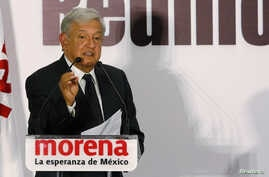 Leftist front-runner Andres Manuel Lopez Obrador, presidential pre-candidate of the National Regeneration Movement (MORENA), addresses supporters during an event to present new campaign officials in Mexico City, Mexico, Feb. 1, 2018.