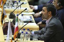 Iranian President Mahmoud Ahmadinejad, speaks, during the 'International Conference on Global Fight Against Terrorism' in Tehran, Iran, June 25, 2011.