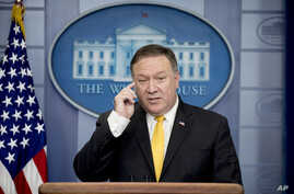 Secretary of State Mike Pompeo speaks at a news conference on North Korea in the briefing room at the White House, June 7, 2018, in Washington.