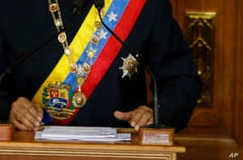 Venezuela's President Nicolas Maduro addresses Constitutional Assembly members at the National Assembly building in Caracas, Venezuela, Aug. 10, 2017.
