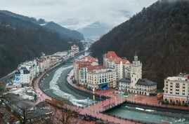 FILE - An aerial view of the ski resort of Rosa Khutor in Sochi, which hosted Olympic skiing in 2014, Russia, and benefited from an estimated $51 billion spent by the Russian government on the Olympics and related infrastructure, Jan. 12, 2018.