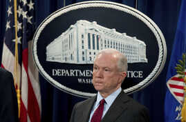 Attorney General Jeff Sessions attends a news conference to announce an international cybercrime enforcement action at the Department of Justice, July 20, 2017
