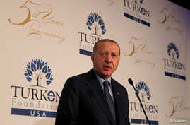 Turkish President Tayyip Erdogan addresses Turks living in the United States at a hotel in New York City, U.S., Sept. 23, 2018.