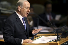 Prime Minister Benjamin Netanyahu speaks during the 67th session of the United Nations General Assembly at U.N. headquarters, September 27, 2012.