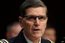 US Central Command commander Gen. Jospeh Votel testifies at the Senate Committee on Armed Services on Capitol Hill in Washington, March 13, 2018.