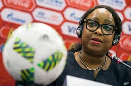 FILE - FIFA Secretary General Fatma Samoura speaks during a news conference in Moscow, Russia, July 5, 2016.
