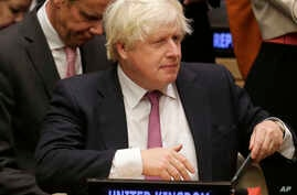British Foreign Secretary Boris Johnson attends a meeting during the United Nations General Assembly at U.N. headquarters, Sept. 18, 2017.