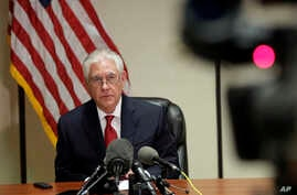 Secretary of State Rex Tillerson speaks during a news conference at the Palm Beach International Airport in West Palm Beach, Florida, April 6, 2017,
