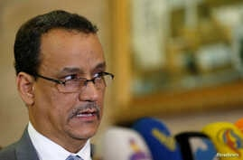 United Nations envoy for Yemen, Ismail Ould Cheikh speaks to reporters before his departure from Sanaa, Yemen, Nov. 7, 2016. Cheikh's plan to end the 20-month conflict in Yemen was rejected Tuesday, Dec. 6, 2016.