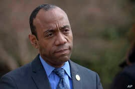 NAACP President Cornell William Brooks speaks outside the Justice Department in Washington, March 3, 2017, following a meeting with Attorney General Jeff Sessions.