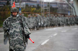 South Korean marines march during a military exercise as a part of the annual joint military training called Foal Eagle between South Korea and the U.S. in Pohang, South Korea, April 5, 2018.