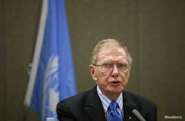 FILE - Michael Kirby, chairman of the United Nations Commission of Inquiry on North Korea, speaks during a news conference.