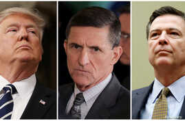 FILE - From left, President Donald Trump, former White House National Security Advisor Michael Flynn, FBI Director James Comey.