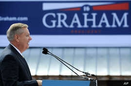 Sen. Lindsey Graham, R-S.C. speaks to supporters after announcing his bid for presidential election, June 1, 2015, in Central, S.C.
