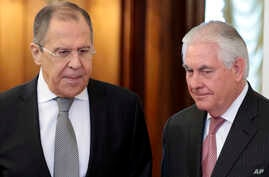 FILE - US Secretary of State Rex Tillerson,right, and Russian Foreign Minister Sergey Lavrov, enter a hall prior to their talks in Moscow, Russia, April 12, 2017.
