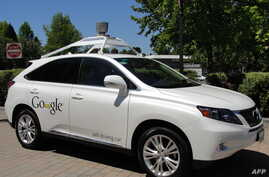A Google self-driving car is seen in Mountain View, California, May 13, 2014.