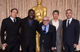 (left to right) Directors David O. Russell, Steve McQueen, Martin Scorsese, Alexander Payne and Alfonso Cuarón at the Oscar® nominee at the Oscar® Nominees Luncheon in Beverly Hills Monday, February 10, 2014.  The 86th Oscars®, hosted by Ellen DeGene