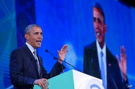 President Barack Obama speaks at the CEO Summit, attended by 800 business leaders from around the region representing U.S. and Asia-Pacific companies, in Manila, Philippines, Wednesday, Nov. 18, 2015.