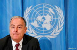 FILE - Panos Moumtzis, United Nations humanitarian coordinator on the Syria crisis, gives a news conference on the latest developments regarding humanitarian access in Syria, in Geneva, Switzerland, June 11, 2018.