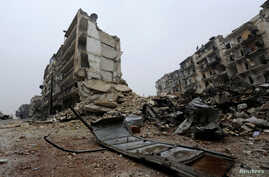 A general view shows the damage in the government-held al-Shaar neighborhood of Aleppo, Syria, during a media tour, Dec. 13, 2016.
