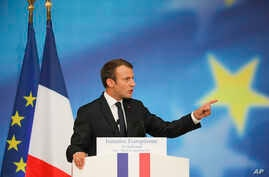 French President Emmanuel Macron delivers a speech on the European Union at the amphitheater of the Sorbonne university in Paris, France, Sept. 26, 2017.