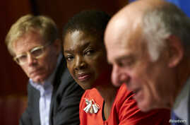 U.N. humanitarian chief Valerie Amos, center, and World Health Organization (WHO) Assistant Director General Bruce Aylward, left, listen to Dr. David Nabarro, senior U.N. coordinator for Ebola, speak during a news conference on Ebola at the United Na
