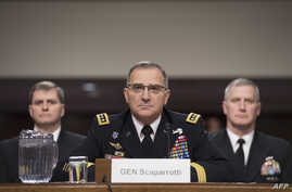 FILE - U.S. Army General Curtis Scaparrotti, Commander of the U.S. European Command, testifies on Capitol Hill before the U.S. Senate Armed Services Committee, in Washington, on March 8, 2018.