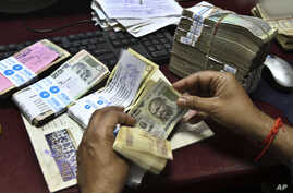 An employee counts Indian rupee notes at a bank in Allahabad, India, May 16, 2012.
