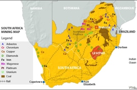 South Africa mining map