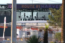 The sign at the Route 91 Harvest Music Festival venue Oct. 2, 2017, in Las Vegas. A deadly shooting Sunday left 59 dead at the music festival on the Las Vegas Strip.
