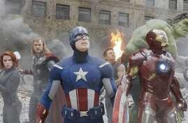 "Black Widow (far left) and Captain America (center) in Marvel's ""The Avengers"" are popular costumes in 2014. (Marvel)"