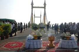 The bridge where the crush happened, cleared of shoes, clothing and water bottles, stands ready for Thursday morning's ceremony to pray for those who died
