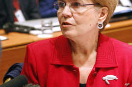 FILE - Then U.S. Under-Secretary of Commerce for Oceans and Atmosphere Jane Lubchenco addresses reporters as she attends  the opening session of the International Commission for the Conservation of Atlantic Tunas, ICCAT, an inter-governmental fishery