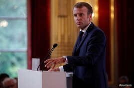 French President Emmanuel Macron delivers a speech during the annual French ambassadors' conference at the Elysee Palace in Paris, France, Aug. 27, 2018.