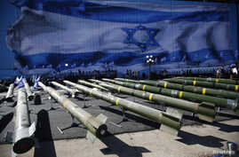FILE - Israeli rockets are seen on display at a base in the Red Sea resort city of Eilat March 10, 2014.